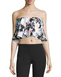 State Of Being Floral Print Flounce Crop Tube Top Multi