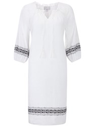 Pure Collection Laundered Linen Embroidered Dress White