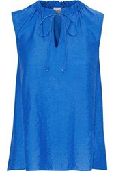 Iris And Ink Woman Juniper Bow Detailed Crinkled Voile Top Blue