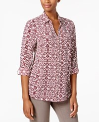 Charter Club Printed Utility Shirt Created For Macy's Cranberry Red Combo