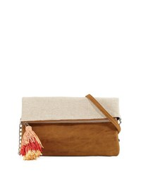 Neiman Marcus Metallic Canvas Fold Over Clutch Bag Neutral