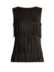 Issey Miyake Tiered Fringe Sleeveless Pleated Top Black