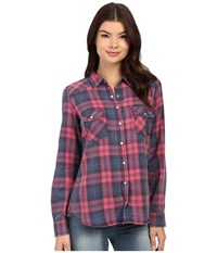 Brigitte Bailey Tania Plaid Shirt Blue Pink Women's Clothing