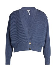 Loewe Pleated Cropped Wool Cardigan Blue