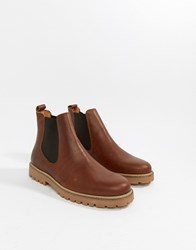 Zign Chunky Chelsea Boots In Tan