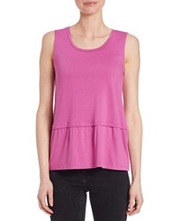 Lord And Taylor Pleated Roundneck Shell Purple Orchid