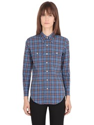 Saint Laurent Bleached Plaid Cotton Poplin Shirt