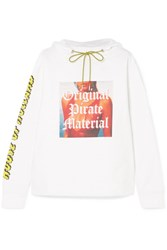 House Of Holland Printed Cotton Jersey Hooded Top White Gbp
