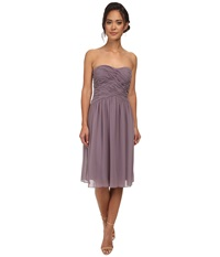 Donna Morgan Anne Short Strapless Chiffon Dress Grey Ridge Women's Dress Purple