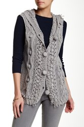 Chaudry Sleeveless Hooded Vest Gray