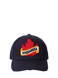Dsquared Maple Leaf Cotton Canvas Baseball Hat Navy