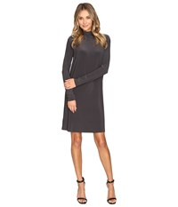 Norma Kamali Long Sleeve Turtleneck Dress To Knee Pewter Women's Dress