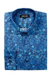 Jared Lang Long Sleeve Floral Print Dress Shirt Blue