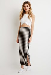 Forever 21 Stripe Maxi Skirt Black Taupe