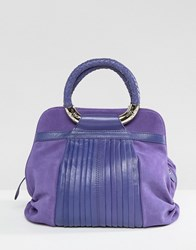Ri2k Leather And Suede Mix Bag Violet Purple