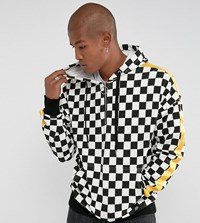 Sixth June Hoodie In Checkerboard With Yellow Stripe White