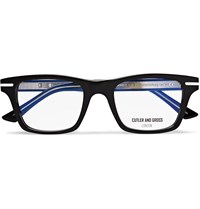 Cutler And Gross Square Frame Acetate Silver Tone Optical Glasses Black