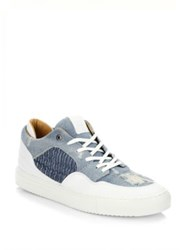 Android Omega Low Denim And Leather Sneakers Light Denim