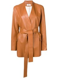 The Row Tied Leather Jacket Brown