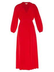 Fendi Pleat Front Crepe De Chine Midi Dress Red