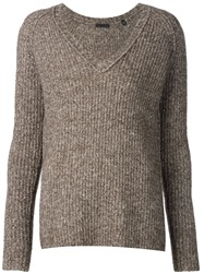 Atm Chunky Knit V Neck Sweater Brown