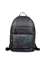 Burberry Cow Grain Leather Trimmed Camouflage Backpack Chocolate Camouflage