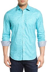 Bugatchi Men's Shaped Fit Solid Sport Shirt Teal
