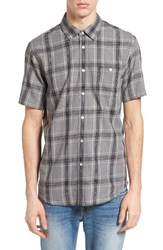 Obey Men's Pine Plaid Woven Shirt Heather Charcoal Multi