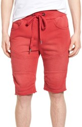 True Religion Men's Brand Jeans Moto Sweat Shorts Ruby Red
