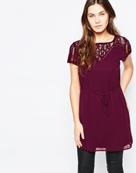 Vila Short Sleeve Tunic With Lace Detail Portroyale