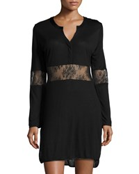 La Perla Eva Long Sleeve Nightgown W Lace Inset Black