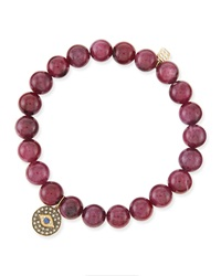 Sydney Evan 8Mm Ruby Bead Bracelet With Evil Eye Charm