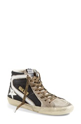 Golden Goose 'Slide' High Top Sneaker Women Black Taupe Gold Leather