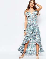 Mela Loves London Floral Print High Low Maxi Dress Multi
