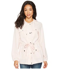 Tribal Soft Twill Hooded Jacket With Belt Pinkiss Coat White