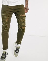 Liquor N Poker Skinny Fit Jeans With Rips In Khaki Green
