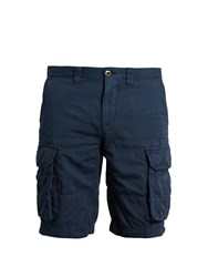 Incotex Slim Leg Cotton Blend Cargo Shorts Navy