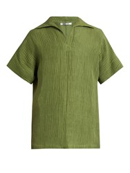 Hecho Ribbed Silk And Linen Blend Tunic Top Green