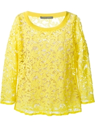 Alberta Ferretti Three Quarter Sleeve Lace Top Yellow And Orange