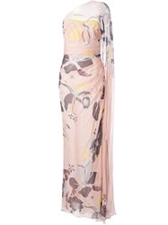 Zuhair Murad Floral One Shoulder Gown Pink