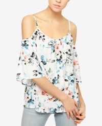 Sanctuary Camilla Floral Print Cold Shoulder Top Havana Floral