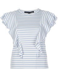 Veronica Beard Striped Print Ruffled T Shirt 60