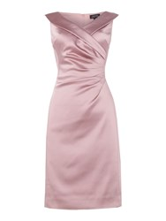 Tahari By Arthur S. Levine Asl Ruched Waist Dress Stretch Satin Pink