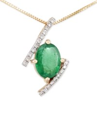 Rare Featuring Gemfields Certified Emerald 1 Ct. T.W. And Diamond 1 10 Ct. T.W. Pendant Necklace In 14K Gold Only At Macy's Yellow Gold