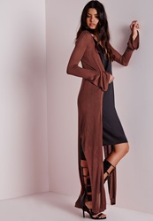 Missguided Bell Sleeved Button Longline Cardigan Rust