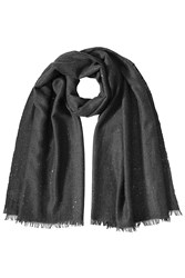 Brunello Cucinelli Cashmere Silk Sequined Scarf Brown
