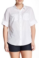 Sandra Ingrish Roll Sleeve Knit Side Shirt Plus Size White
