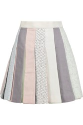 Thom Browne Pleated Linen Mini Skirt Multi