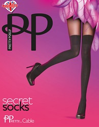 Pretty Polly Cable Knit Knee Hi Socks Black