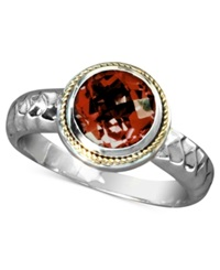 Effy Collection Balissima By Effy Garnet Round Ring 2 1 8 Ct. T.W. In Sterling Silver And 18K Gold